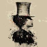 Женщина в стиле кабара Иллюстрация акварели, мода grunge Стоковые Фото