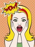 Женщина в стиле комиксов искусства шипучки Стоковое Изображение