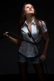 Женщина в тени с хлыстом стоковая фотография