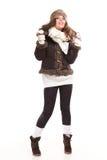 Женщина в теплой моде зимы одежды Стоковые Изображения