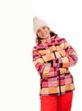 Женщина в ткани глиста готовя пустую доску Стоковое Изображение