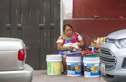 Женщина в традиционной одежде подготавливая еду Стоковое фото RF