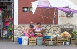 Женщина в традиционной одежде подготавливая еду Стоковые Фотографии RF