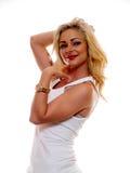 Женщина в футболке стоковая фотография rf
