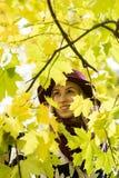 Женщина в флористической сделанной по образцу шляпе красного цвета пальто и вина в парке, рекой Счастливая девушка, красочный пор Стоковая Фотография
