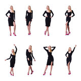 Женщина в черном платье в концепции моды на белизне Стоковые Фотографии RF
