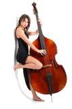 Женщина в черном двойнике игры платья Стоковые Фото