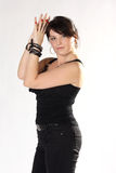 Женщина в черных джинсыах и верхней части Стоковая Фотография RF