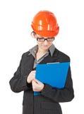 Женщина в шлеме конструкции Стоковое Изображение