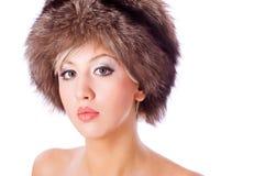 Женщина в шлеме стоковые фотографии rf