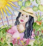 Женщина в югозападном саде Стоковая Фотография RF