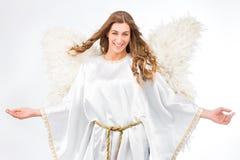 Женщина в costume ангела Стоковая Фотография RF