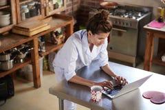 Женщина в pyjamas стоит использующ компьтер-книжку в кухне, высоком угле стоковое фото rf