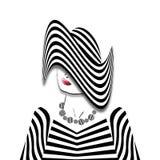 Женщина в Striped обмундировании Стоковая Фотография