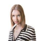 Женщина в striped платье стоковые фотографии rf