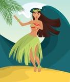 Женщина гаваиского танцора hula молодая милая Стоковые Изображения