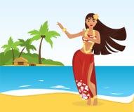 Женщина гаваиского танцора hula молодая милая Стоковые Изображения RF