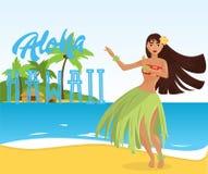 Женщина гаваиского танцора hula молодая милая Стоковые Фотографии RF