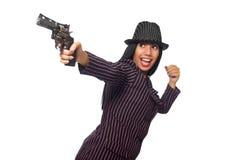 Женщина гангстера при оружие изолированное на белизне Стоковое Изображение