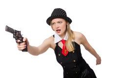 Женщина гангстера с личным огнестрельным оружием на белизне Стоковое фото RF