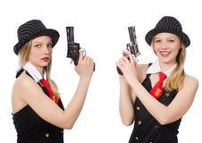 Женщина гангстера с личным огнестрельным оружием на белизне Стоковые Изображения