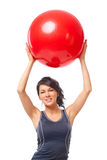 женщина гимнастики шарика Стоковая Фотография RF