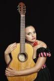 женщина гитары унылая Стоковая Фотография RF