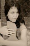 женщина гитары Стоковые Фото
