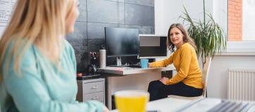 Женщина 2 говоря в офисе Стоковые Изображения RF