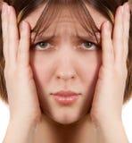 женщина головной боли Стоковое Изображение