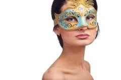 женщина голубой маски масленицы нося Стоковое фото RF