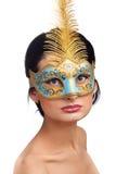 женщина голубой маски масленицы нося Стоковая Фотография