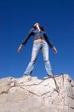 женщина голубых джинсов Стоковые Изображения