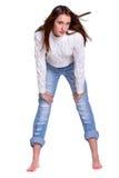 женщина голубых джинсов милая Стоковые Изображения