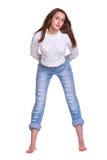 женщина голубых джинсов милая Стоковое Изображение