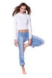 женщина голубых джинсов милая Стоковое Изображение RF