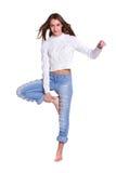 женщина голубых джинсов милая Стоковые Изображения RF
