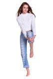 женщина голубых джинсов милая Стоковое Фото