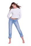 женщина голубых джинсов милая Стоковое фото RF