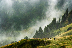 Женщина гуляя в шторм Стоковое фото RF