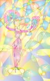 Женщина, девушка выполняя традиционный танец вентилятора Тропические попугаи были ее аудиторией Одно, котор замерли дерево Предпо иллюстрация вектора