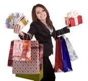 женщина дег подарка дела коробки мешка Стоковые Фото