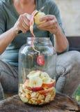 Женщина делает уксус яблока - яблоко шелушения и отрезала ее в бутылку стоковое фото rf