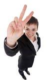 Женщина делая ее знак победы Стоковое Изображение