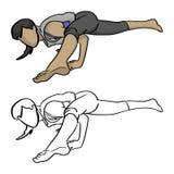 Женщина делая руку dra doodle эскиза иллюстрации вектора представления йоги Стоковые Изображения RF