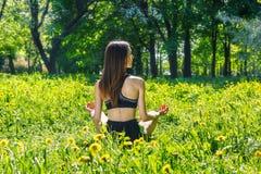 Женщина делая тренировки в парке стоковые изображения rf