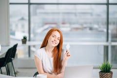 Женщина делая ходить по магазинам онлайн с ее компьтер-книжкой дома Стоковая Фотография RF