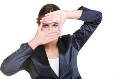 Женщина дела делая изолированную рамку руки, Стоковое Фото