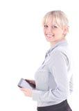 Женщина дела держа компьютер таблетки Стоковые Фотографии RF