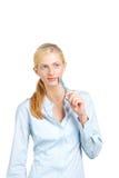 женщина дела думая стоковое фото